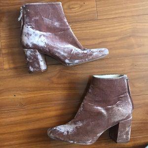 Zara Pink Crushed Velvet Chunky Heel Boots